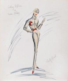 Edith Head sketch for Audrey Hepburn in Roman Holiday (1953)