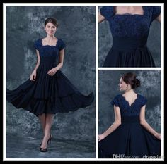 Wholesale Mother Of the Bride Dress - Buy Vintage Navy Blue Square Lace Cap Sleeve Chiffon Short Mother of The Bride Dresses Tea Length Ruffles Formal Wedding Party Gowns Open Back, $98.79 | DHgate