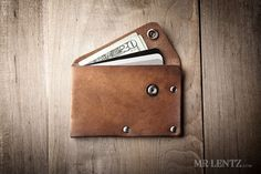 Leather Wallet with snap, leather card wallet, men's wallet, thin wallet, simple snap wallet 020