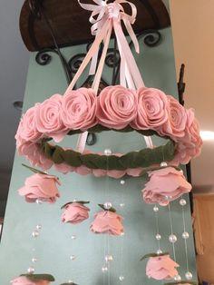 Items similar to Finest wool pale blush pink Felt flower mobile Baby Girl Nursery Decor, Baby Decor, Chic Nursery, Garden Nursery, Baby Bedroom, Nursery Ideas, Felt Roses, Felt Flowers, Rose Flowers