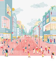 An illustrated view of 'A future for the Oxford Street district' grafisch illustratie rood roze blauw geel perspectief