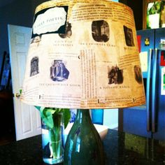 I made this lamp shade using Harry Potter by J.K. Rowling.