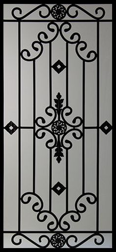 Wrought Iron Door Inserts - Dalemont Stocked by Randal's Wrought Iron & Stained Glass serving the Greater Toronto Area and surrounding areas. Grill Gate Design, Iron Gate Design, Window Grill Design, Railing Design, Metal Gates, Wrought Iron Doors, Wrought Iron Security Doors, Iron Work, Iron Decor