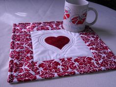 Valentine Mug Rug Quilted  Red Heart   Tea or by fabricartist21, $8.50