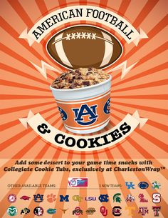 Need a quick and easy dessert to take to your next college football party? We are thrilled to offer officially licensed collegiate football team-themed tubs loaded with ready-to-bake chunky chocolate chip cookie dough. Our yummy chunky chocolate chip cookies will be the hit of the party regardless of your favorite team's outcome! Keep the reusable tub for tailgating, and you'll realize there's no better way to contribute to your school's fall fundraiser.