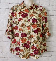 Womens J JILL Floral Bird Print V-Neck Button Front Roll Tab Sleeves Top Size L #JJill #ButtonDownShirt #Casual
