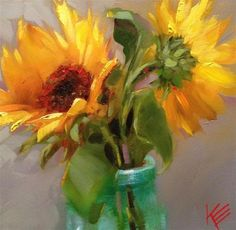 Sunflowers in Blue - Original Fine Art for Sale - © by Krista Eaton