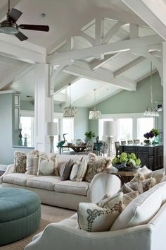 Chic Mint Green traditional style living room decor, mint decor, mint paint color white sofa with mint decorative pillows Mint Living Rooms, Coastal Living Rooms, Living Room Colors, Rugs In Living Room, Living Room Designs, Living Room Decor, Dining Room, Curtains Living, Room Rugs