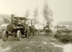 Advance Thresher Co. Traction Engine on   a farm near Stayton, Oregon, circa 1900