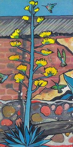 Humming Birds, Blue Agave Southwest (Nature-07) - Pacific Blue Gallery Shop