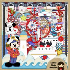 Mickey Sailor Digital Scrapbook Kit  Kit digital scrapbook. All our products are high resolution (300 dpi) jpg and png format. Ideal for creating beautiful Digital Scrapbooking or perform other work. This kit consists of 111 elements, 12 of clipart characters, 22 papers and 77 different elements of ornament.