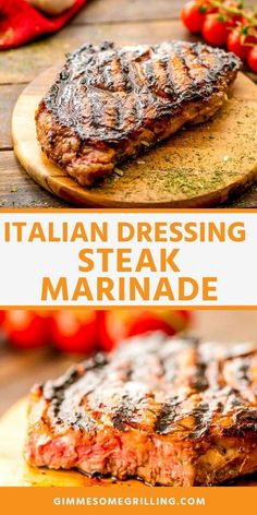 You can't beat this Italian Dressing Steak Marinade! So full of flavor and leave… You can't beat this Italian Dressing Steak Marinade! So full of flavor and leaves your steak juicy and delicious. It's going to be your new go-to steak marinade recipe. Steak Marinade For Grilling, Steak Marinade Recipes, Grilled Steak Recipes, How To Grill Steak, Grilling Recipes, Beef Recipes, Grilling Ideas, Grilled Beef, Steak Tenderizer Marinade