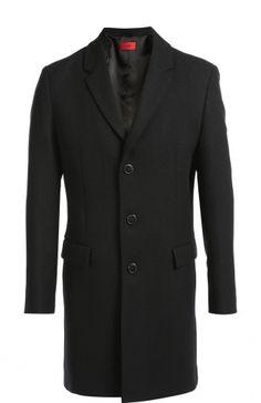Однобортное пальто с добавлением шерсти Hugo, синего цвета, арт. 50296656 в ЦУМ | Фото №1