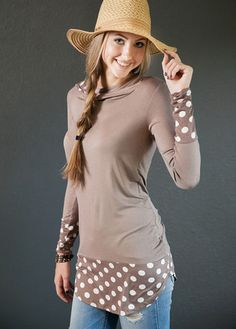 Polka Dot Print Cuff Hoodie - The Deal Cottage