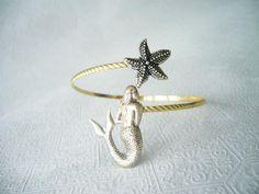 mermaid bracelet with a shell. wrap mermaid jewelery
