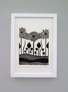 Stripy Daisies Lino Print