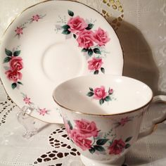 Vintage Queen Anne Bone China Tea Cup and Saucer Set Mid Century Pink Rose by ViolasValuables on Etsy
