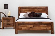 Chester Rustic Java Wooden Farmhouse Shaker Bed Frame Double King Size
