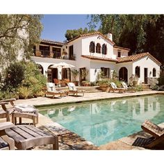 pools - pool Spanish style home gorgeous deck patio and pool ❤ liked on Polyvore featuring house, home, backgrounds, rooms and photos