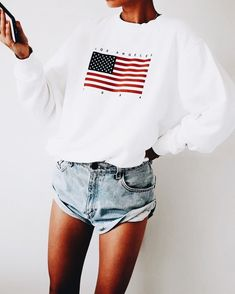 brandy melville usa olympic sweater with cutoffs