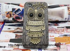 Bronze Owl Black Hard Case Cover  for iPhone 4 Case, iPhone 4 Cover, iPhone 4s Case,iPhone Cover,to iPhone Cases 4,4s,apple.