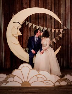 Wedding Backdrops that are Gorgeous AF bride and groom sit kissing on hand-made paper moon in front of bunting with a deco-lights inspired cutout in front . Starry Night Wedding, Moon Wedding, Celestial Wedding, Gatsby Wedding, Wedding Art, Dream Wedding, Wedding Shoes, Wedding Posing, Wedding Ideas