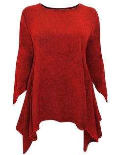 3f8f4253ef870 eaonplus RED Acid Wash Mythical Ways Pixie Sleeve Tunic - Plus Size 18 20 to