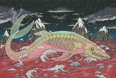Appearing in Japanese mythology, the Bake-kujira appears as an enormous whale with a catch: it's not a whale, rather, the skeleton of a whale. Description from deitiesdaily.tumblr.com. I searched for this on bing.com/images