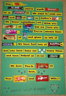gonna reword this candy bar poster for my cousin! Candy Bar Poems, Candy Bar Cards, Candy Bar Sayings, Candy Messages, Candy Signs, Fathers Day Crafts, Happy Fathers Day, Valentines Day Card Sayings, Birthday Candy