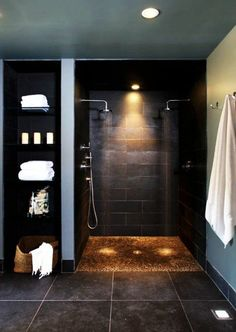 bathroom design ideas bathroom design in black shower cabin with lighting - badezimmer ideen - Modern Bathroom Design, Contemporary Bathrooms, Bathroom Interior Design, Bathroom Designs, Bath Design, Modern Contemporary, Shower Designs, Kitchen Interior, Contemporary Shelves