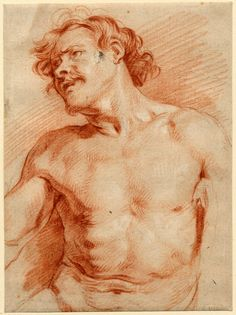 Study of a nude male; HL, seated to front, head turned to l, with moustache and small beard, his r arm (truncated) extended Red chalk, heightened with white