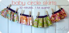 baby circle skirt tutorial - takes 30 minutes and 1 fat quarter #sewingforbaby