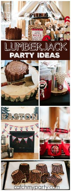 So many great ideas at this lumberjack boy birthday party! See more party ideas at CatchMyParty.com!