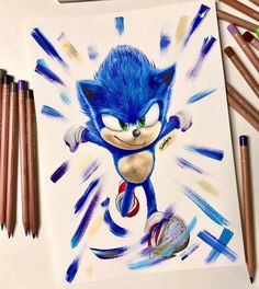 Felt like my page needed some blue🔵 And also when you're to lazy to put details on shoes so you come up with an idea of covering the shoe with acrylics🤷🏻‍♂️ Sonic The Hedgehog, Hedgehog Art, Caran D'ache, Sonic Art, Polychromos, Color Pencil Art, Realism Art, Drawing Tips, Traditional Art
