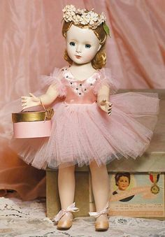 MA Margot 1954 Probably named for Margot Fonteyn, a  famous ballerina. With the right handling, she walked and turned her head at the same time.  I had this doll when I was a girl. My sister and I actually played with her and she did not remain in pristine condition.  ---Kay Redding