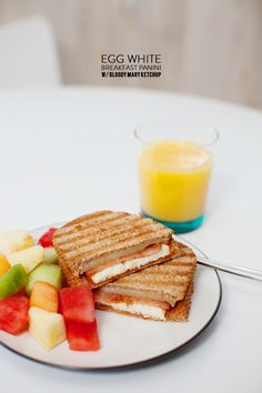 Egg White Breakfast Panini with Bloody Mary Ketchup #recipe