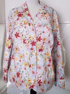 Coldwater Creek Jean Style Floral Jacket Womens Plus 18W  Multicolor Denim  #ColdwaterCreek #JeanJacket #Outdoor