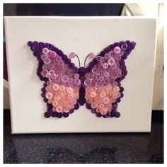 Beautiful butterfly button art canvas by Barlowsbuttons on Etsy, Button Canvas, Button Art, Button Crafts, Fun Crafts, Diy And Crafts, Crafts For Kids, Arts And Crafts, Vintage Jewelry Crafts, Diy Buttons