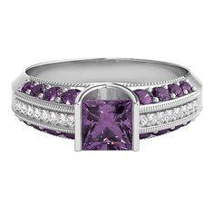 Amethyst & Diamond Ring in 10K Gold