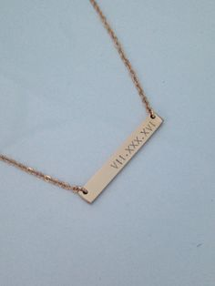 Roman Numeral Necklace - Personalized Bar Necklace - Minimal Jewelry - Date…