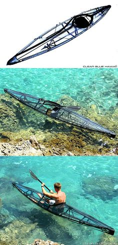Napali, a transparent & foldable kayak by Clear Blue Hawaii. It is one of the lightest kayaks in the world, weighing only 26 pounds. It's supported by a corrosion-resistant Carbon Kevlar frame system with transparent, military-grade Urethane skin, it's pretty legit. But probably the coolest thing about this kayak besides it's transparency is that you can fold it small enough to fit into a hiking backpack.  It's a total of 13 ft long & 22 inch wide in the middle. It was designed by Murray…