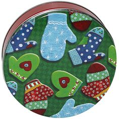 Decorative Cookie Tins | 36 count 1 lb. Petite Tossed Mittens Decorative Cookie Tins