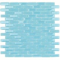 Peacock Blue Staggered Linear Glass Tile Perfect for Kitchens backsplash Showers and bathrooms.