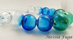 Blown beads necklace in light aqua, aqua and teal di alessiafuga su Etsy