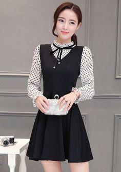 Buy Fake 2 Piece Skater Dress | mysallyfashion.com Malaysia