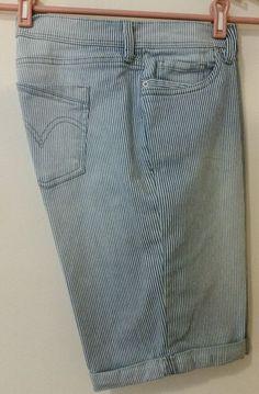 Levi's Women's Size 12 Blue/White Striped Cotton Shorts  #Levis #CasualShorts