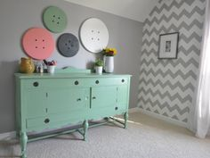 "Michelle 's ""Whimsical "" Room mint buffet gray walls, cheveron"