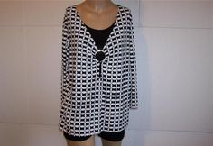 OLIVIA PAIGE Shirt Top Plus Size 1X Black White Stretch Womens Casual Two-Fer #OliviaPaige #KnitTop #Casual