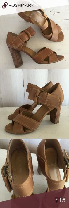 """Nine West tan leather strappy sandal heels Nine West """"brana"""" high heel sandals. Criss cross design over toes, thick strap to buckle at ankle. Holds foot nice & secure. Signs of wear- some scuffs & marks, insole is lifting on the heel part of the left shoe. Still wearable & look great! Size 8, 3.5"""" stacked heel Nine West Shoes Sandals"""