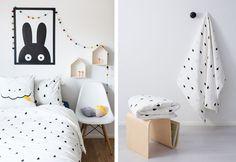 black and white, polka dot, interior